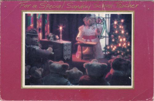 Carlton Cards Christmas Card featuring the Stearnsy Bears. 1980s.