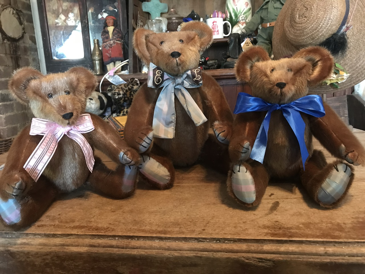"March 2019. Three bear order, 1-16"", 2-12"" made from a great vintage sealskin coat."