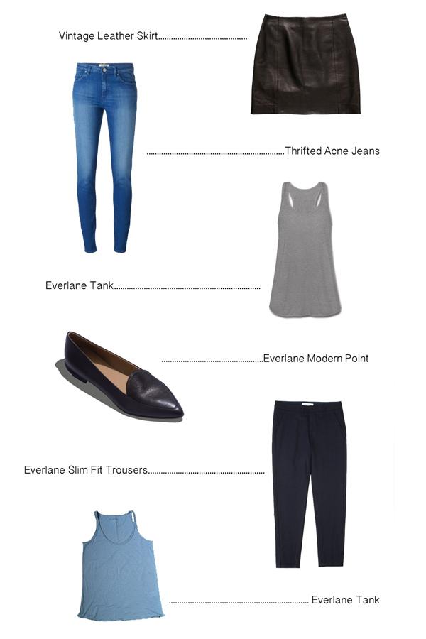 Vintage Leather Skirt ( similar ), Acne Jeans (thrifted),  Everlane Tank ,  Everlane Modern Points ,  Everlane Trousers