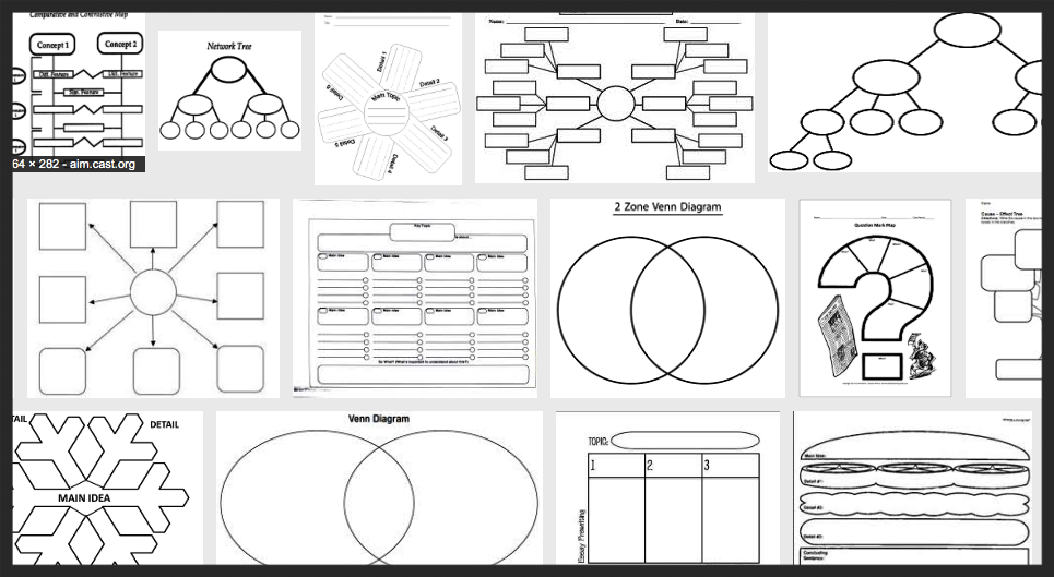 A slew of graphic organizers, courtsey of Google Image search.