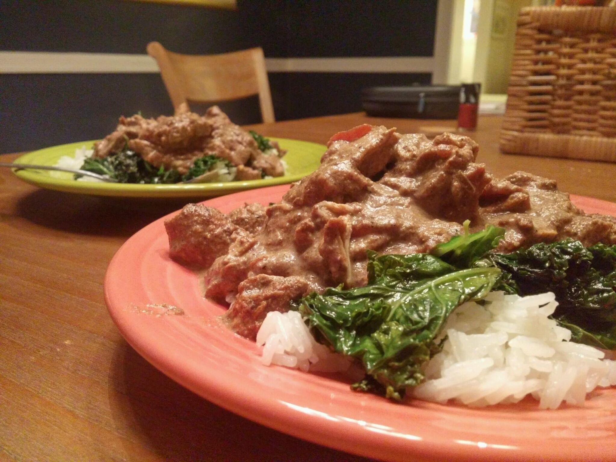 Chicken Tikka Masala with Sautéed Kale and Rice