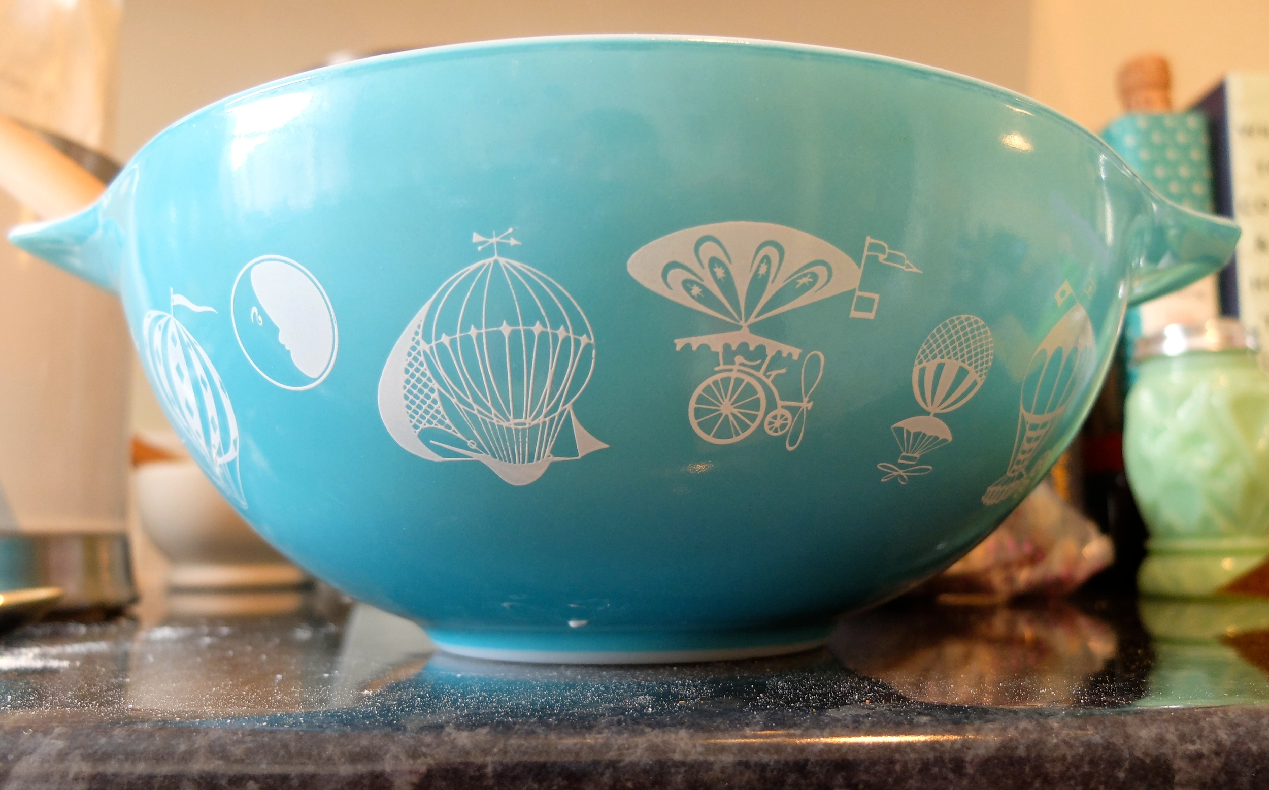 This is the only piece of Eleanor's Pyrex Collection that still exists, and I wish I had more of it. At least if only one piece survived, it was the biggest mixing bowl ever.
