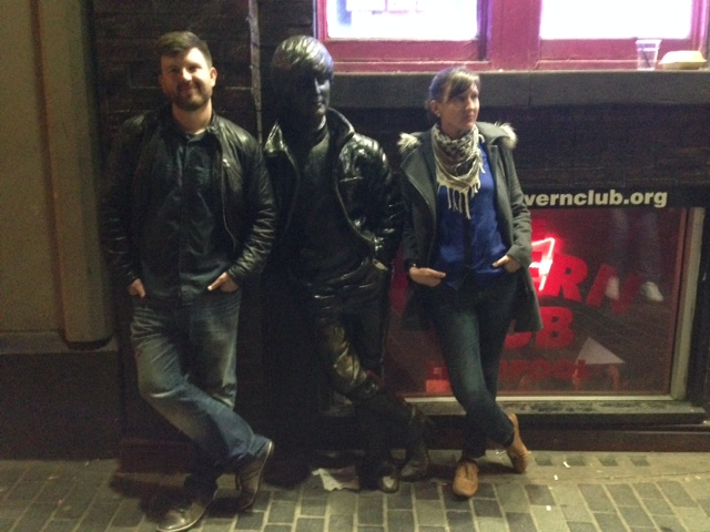 Andrew, me, and John lennon, just hanging out on Mathew street.