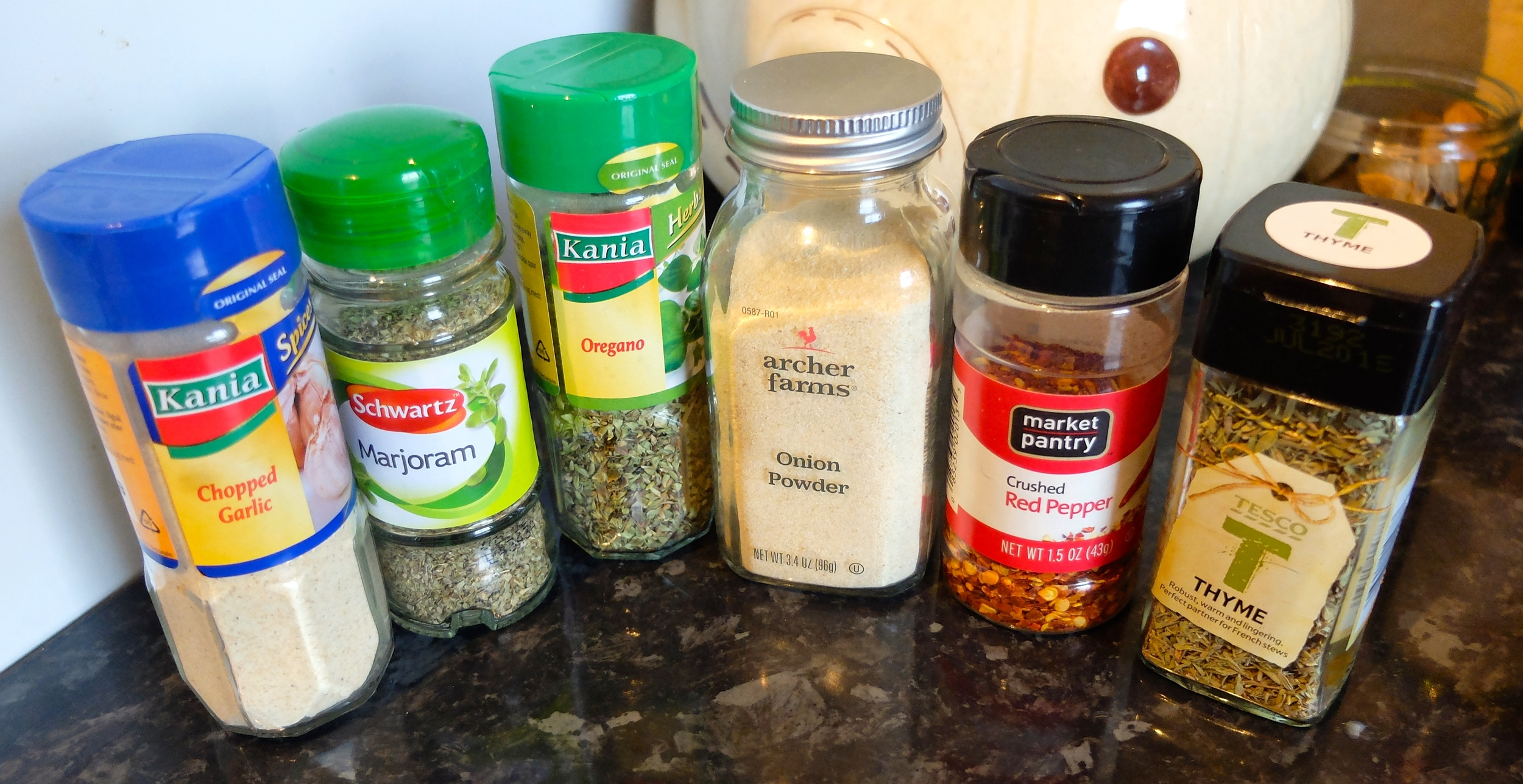 If you noticed that the onion powder and the red pepper are from Target, you're right. I stock up every time we're back in the US because I can't find them here.