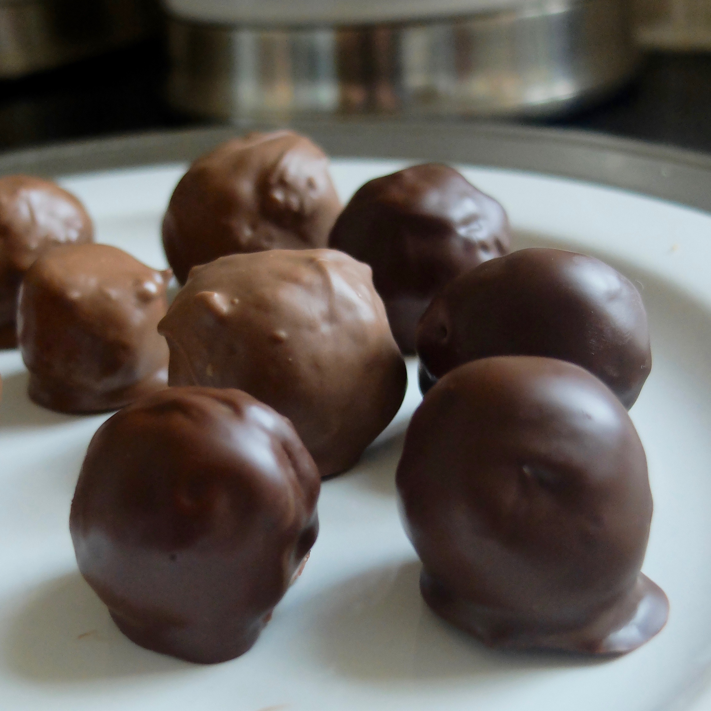 peanut butter balls (Note the foot on the one at the front where the chocolate was too hot)