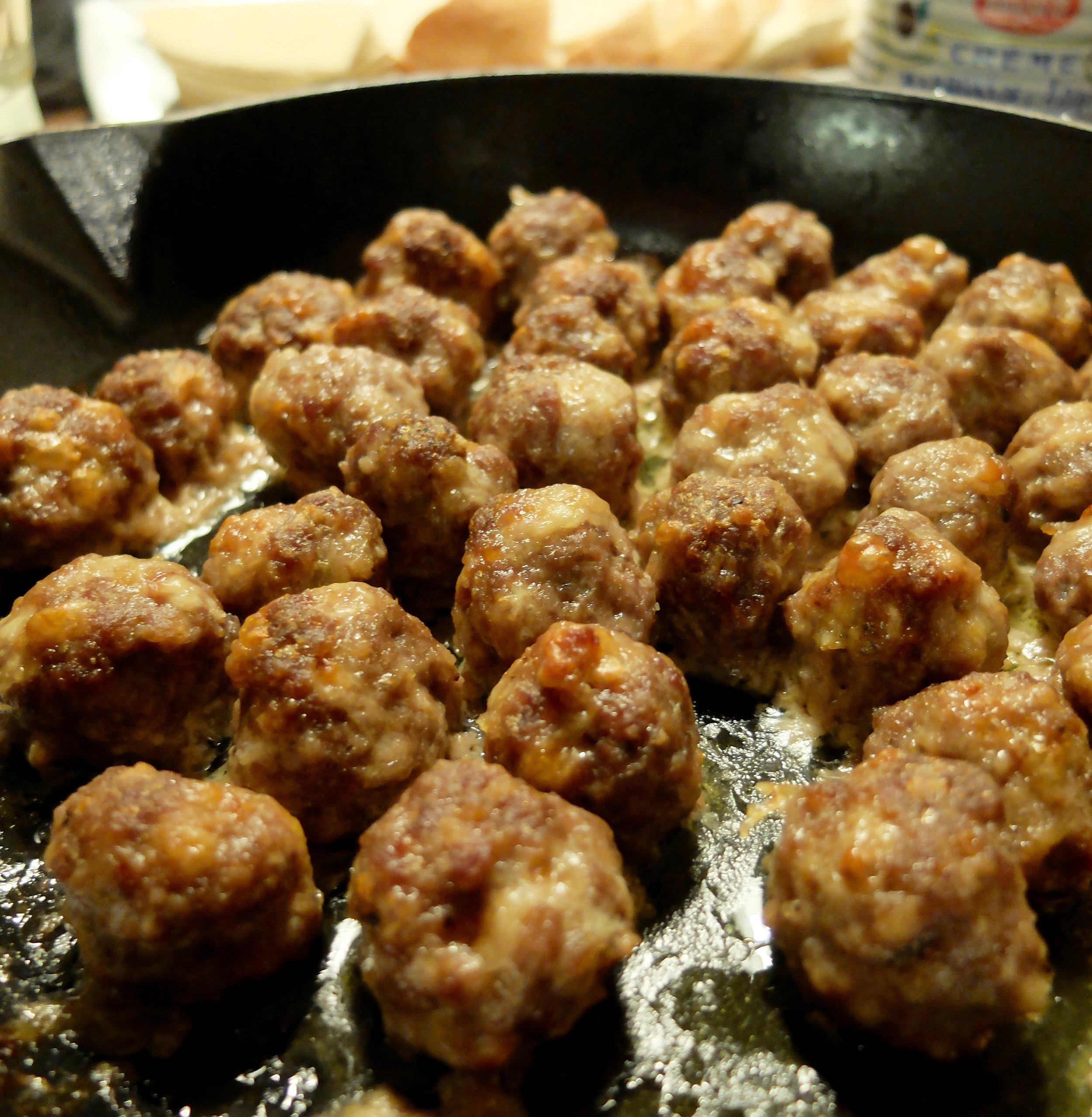 You'll have more meatballs than this- i just forgot to take a picture until they were already snacked on.