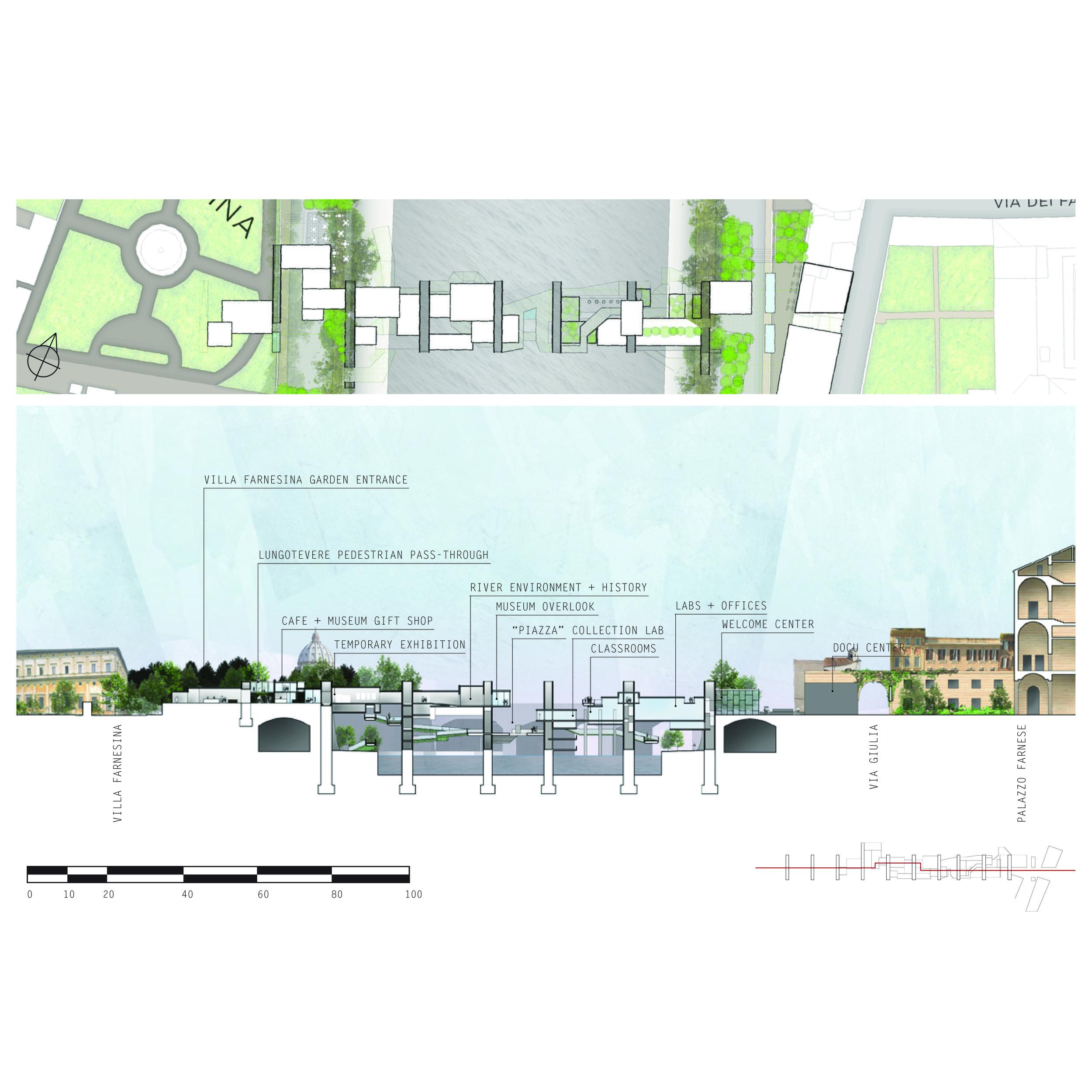 longitudinal section + roof plan