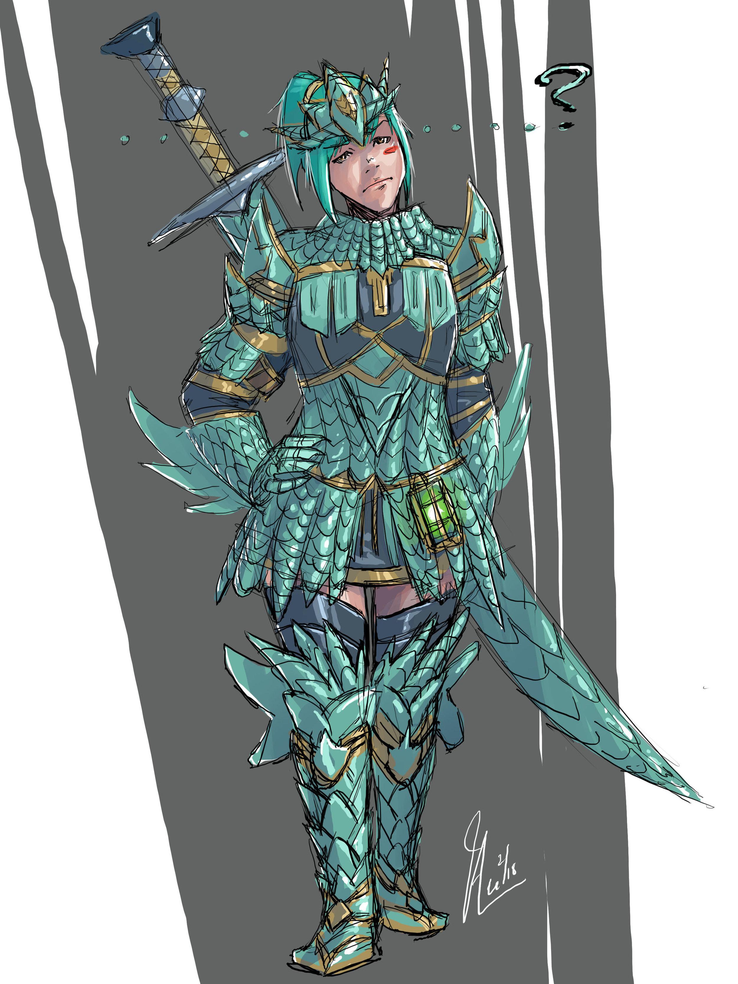 MH armor - blue-green lizard armor BG.jpg