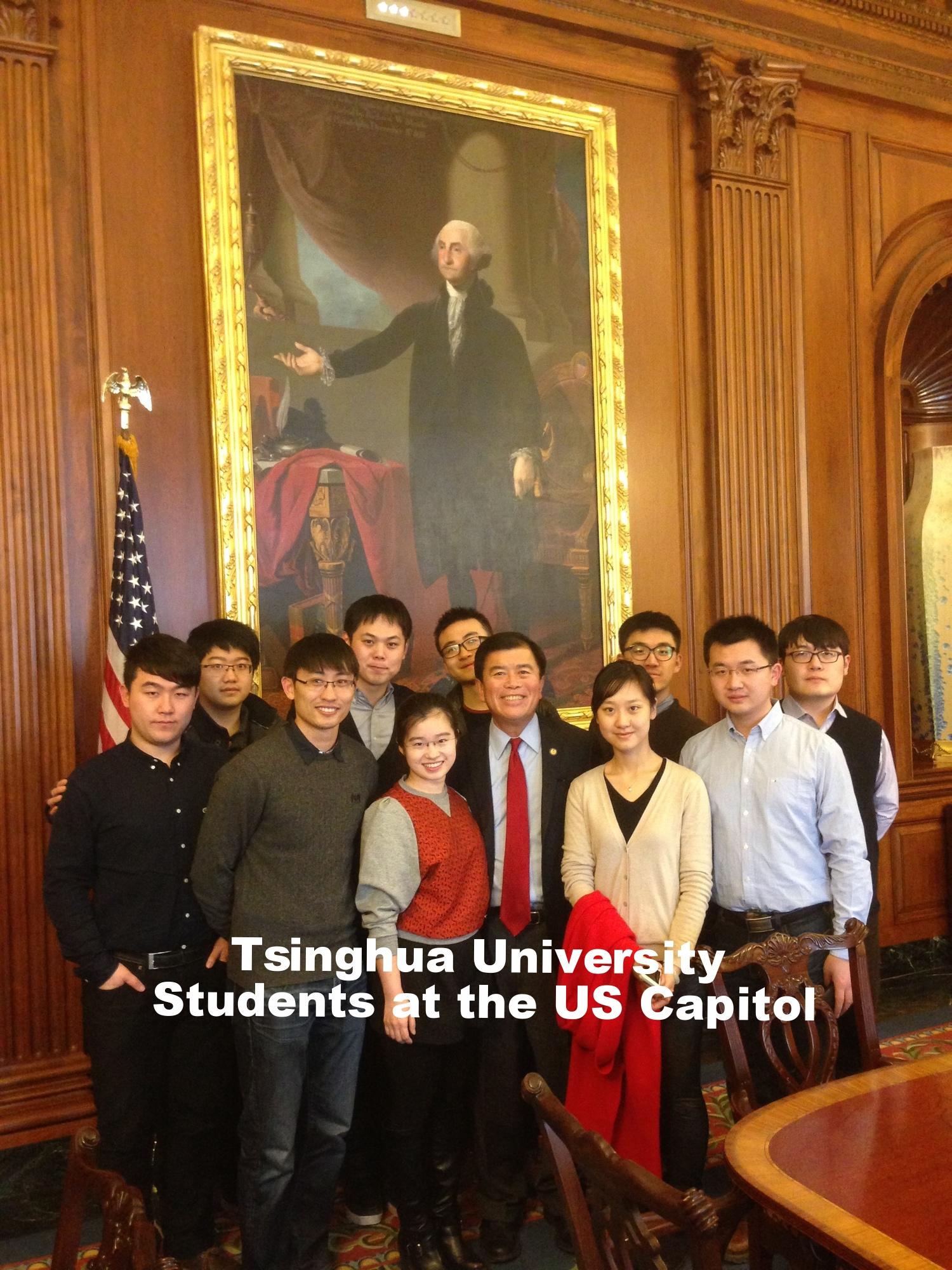 David Wu with Tsinghua University students at the US Capitol
