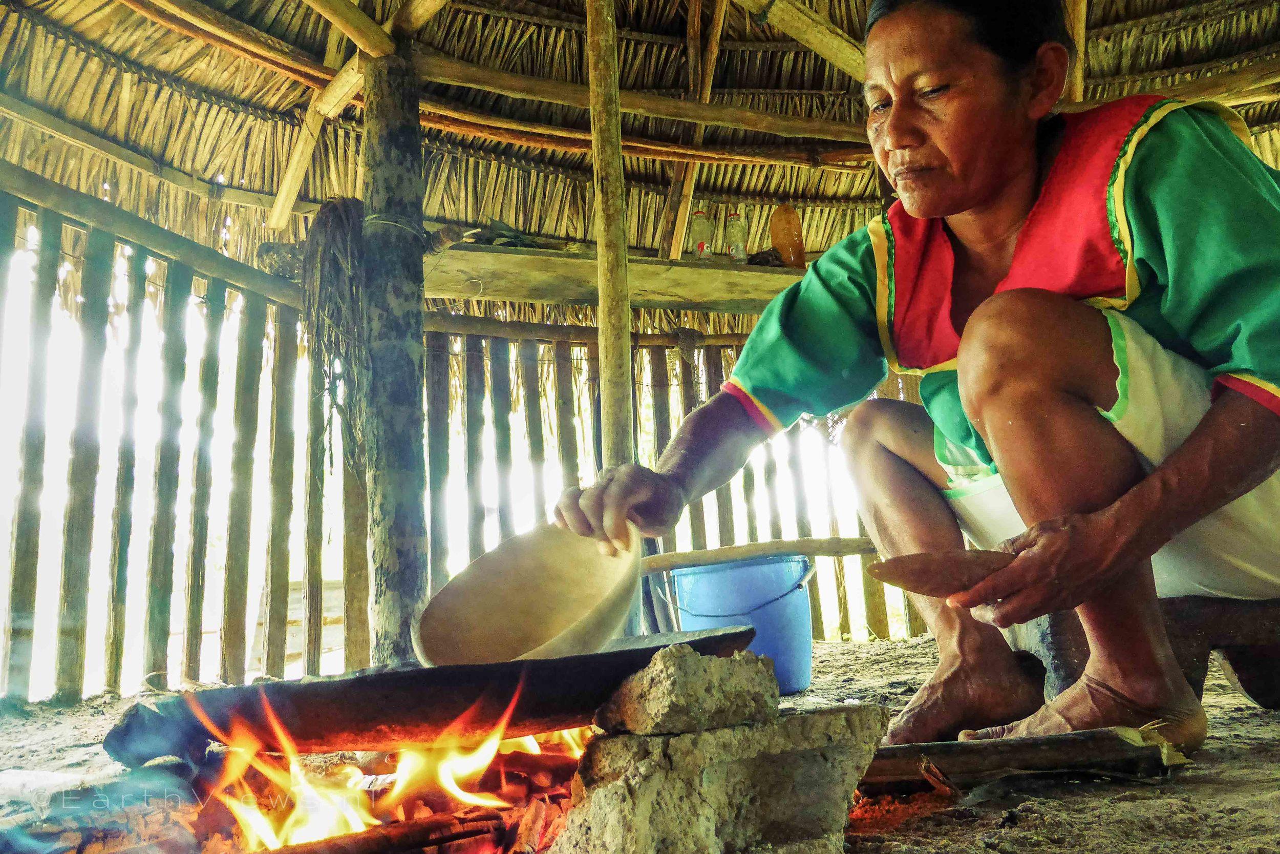 Baking the bread.