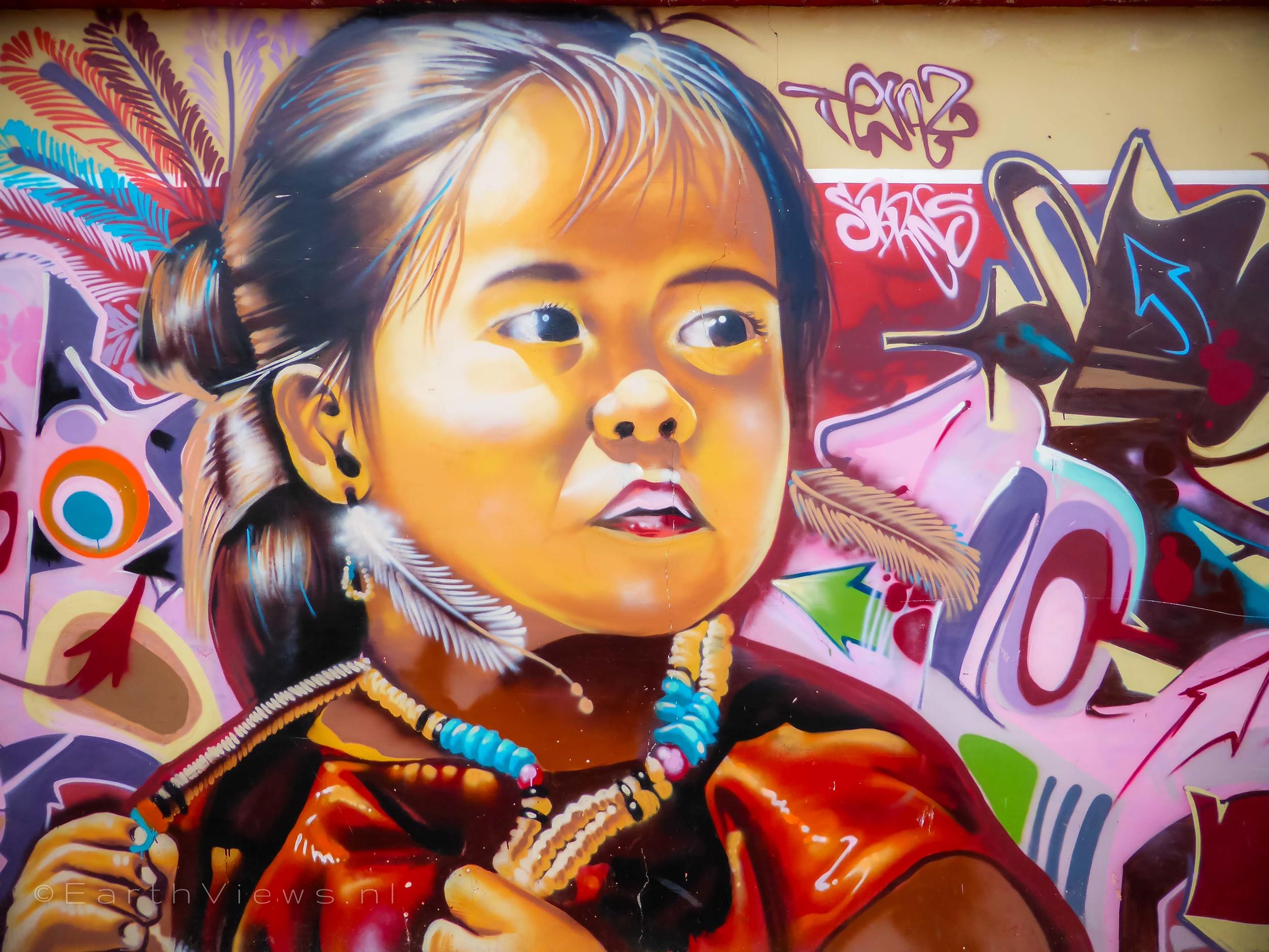 Beautiful graffiti on a wall in Otavalo.