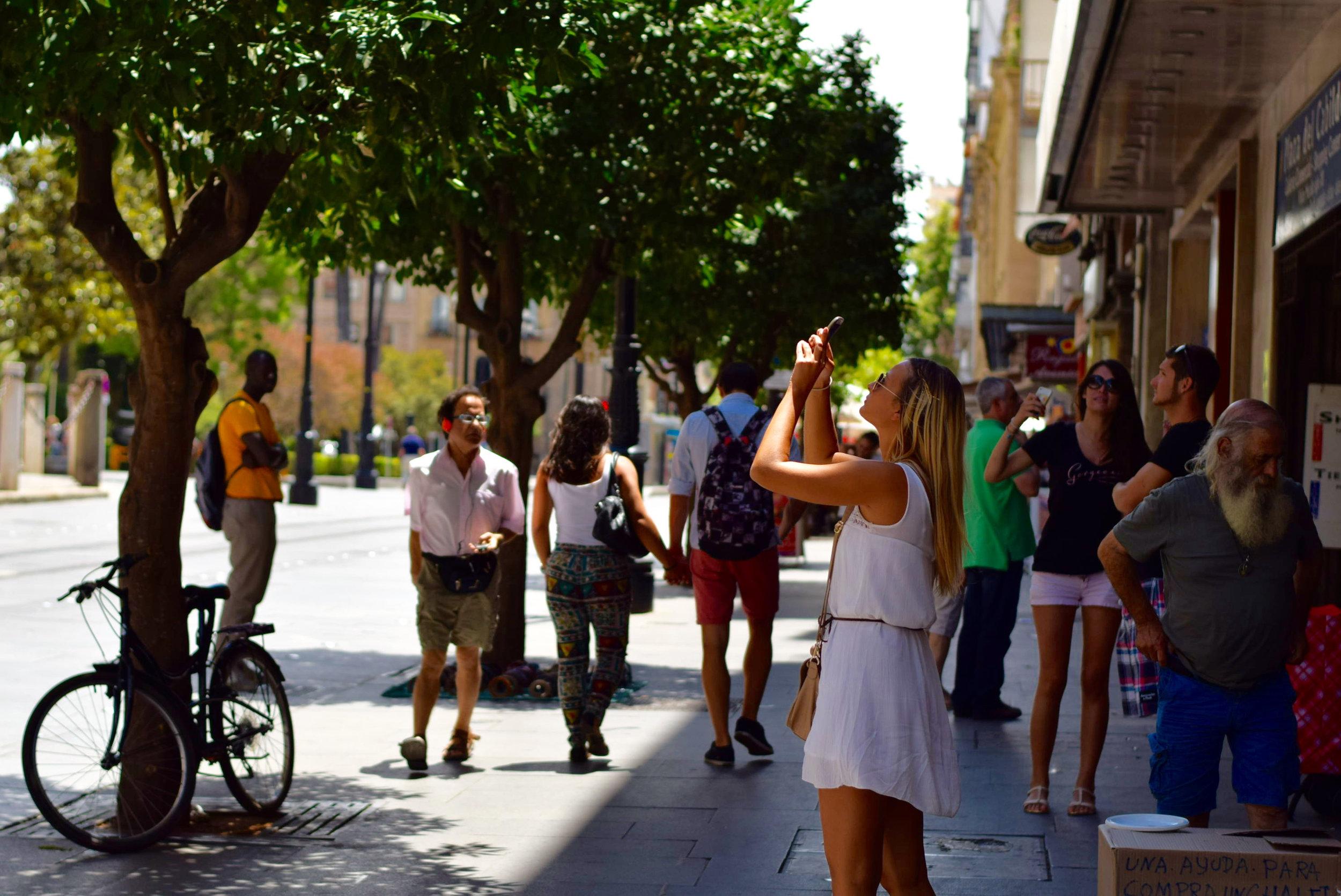 Busy Sidewalk In Downtown