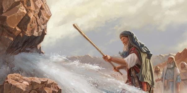 Moses strikes the rock at Meribah