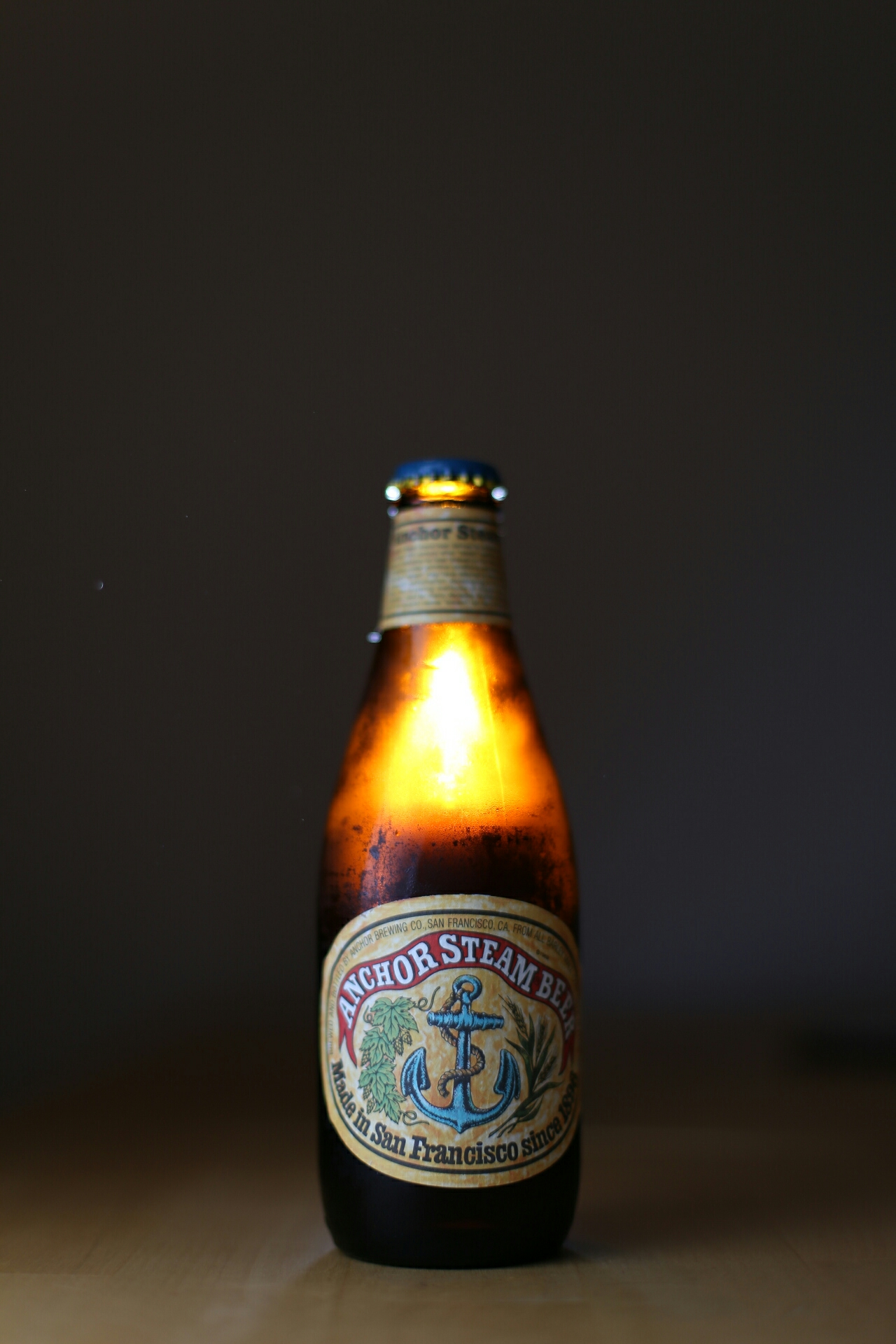 Beer bottle with quick lighting set up.