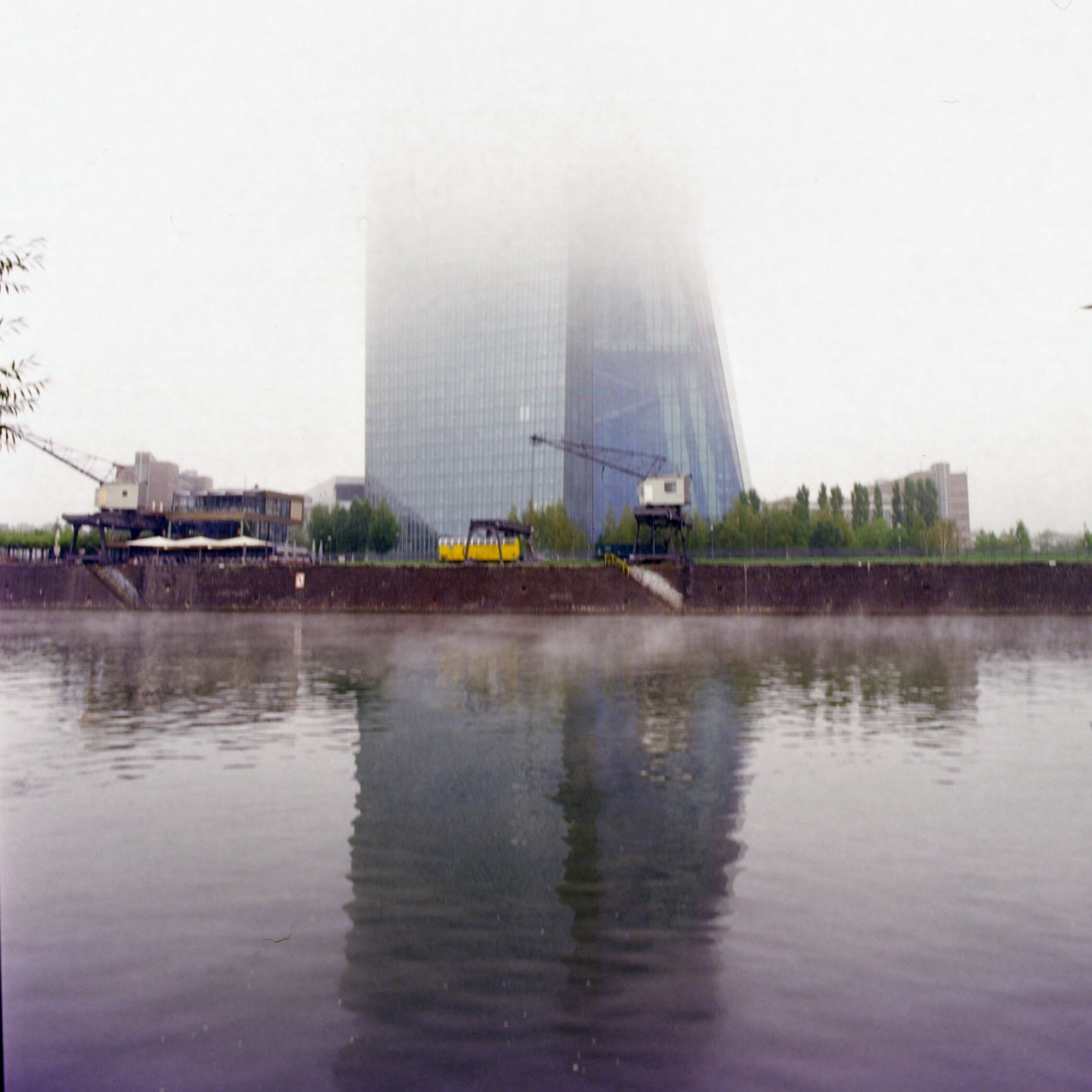 European Central Bank in fog. Slight magenta cast visible at the bottom.