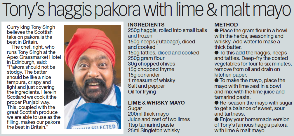 Tony's Pakora Recipe in the Daily Record
