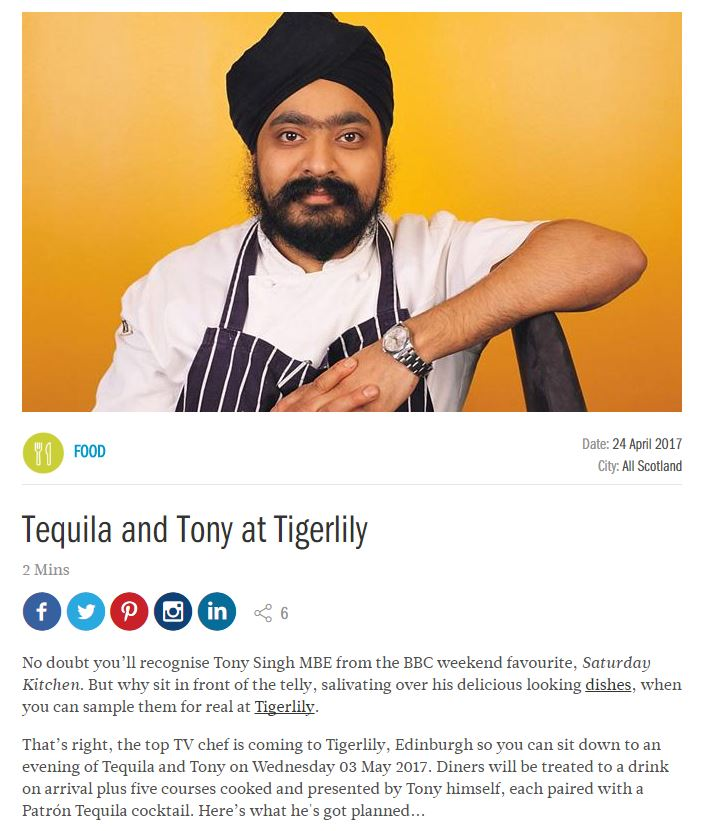 i-on shares news of Tony's upcoming dinner at Tigerlily, Edinburgh