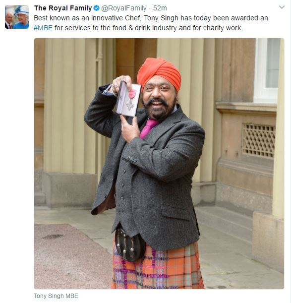 The Royal Family Twitter account shares news of Tony Singh's investiture