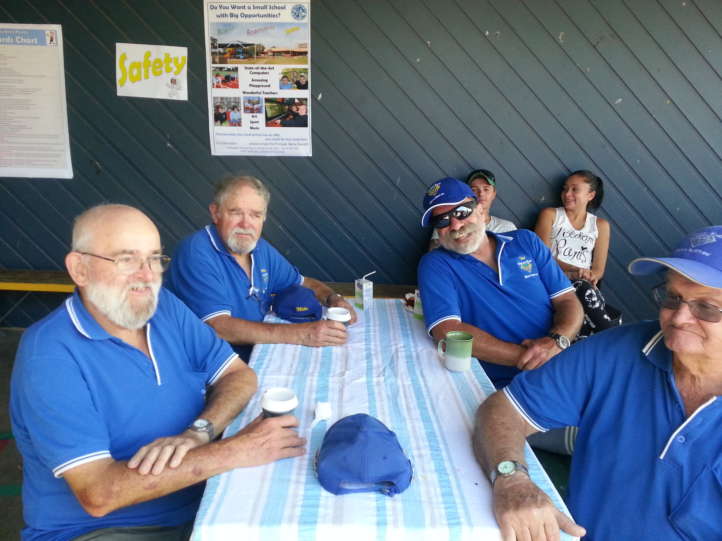Shedders relaxing after helping out at a school BBQ.jpg