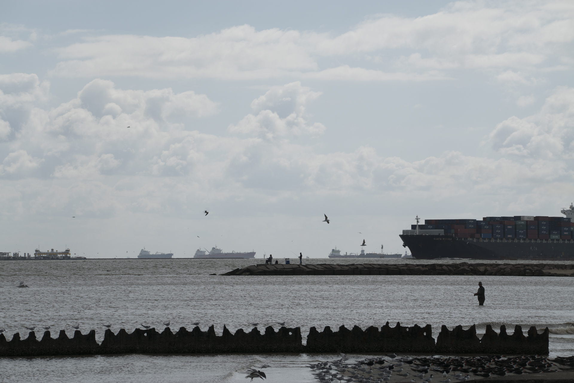 Shipping traffic heads into Galveston Bay near Texas City, Texas.