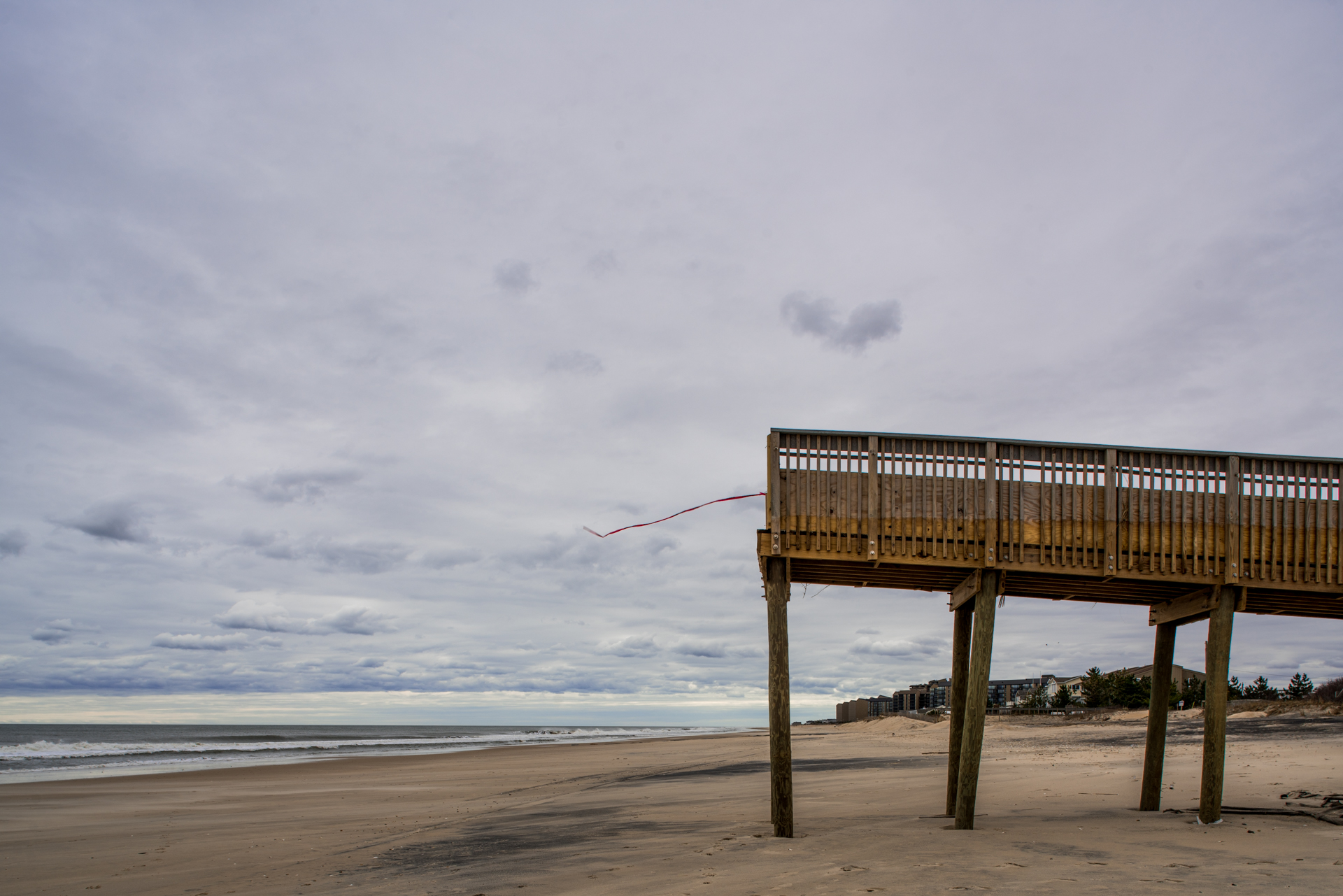 A protective dune in Bethany Beach, Delaware, was washed away in several winter storms in 2016, leaving the boardwalk that carried beach-goers over the dune in the air. The dune near downtown Bethany Beach was replaced by Memorial Day.
