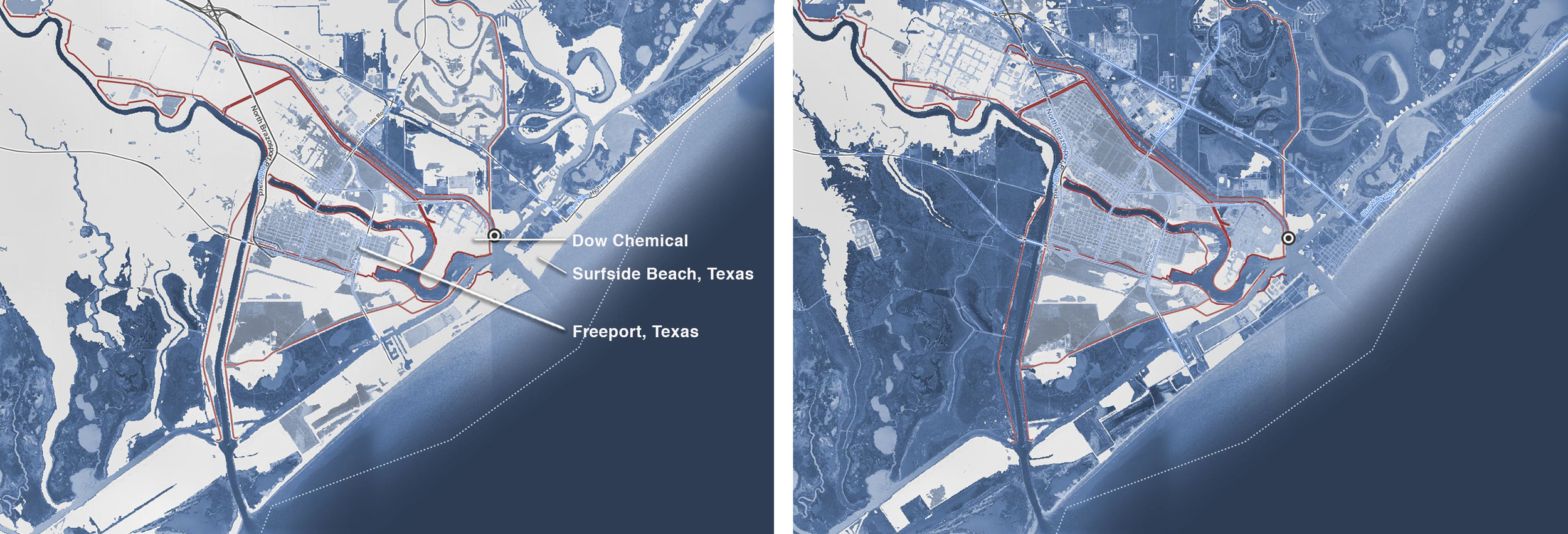Mapping: Climate Central, Surging Seas Risk Maps using NOAA elevation data.