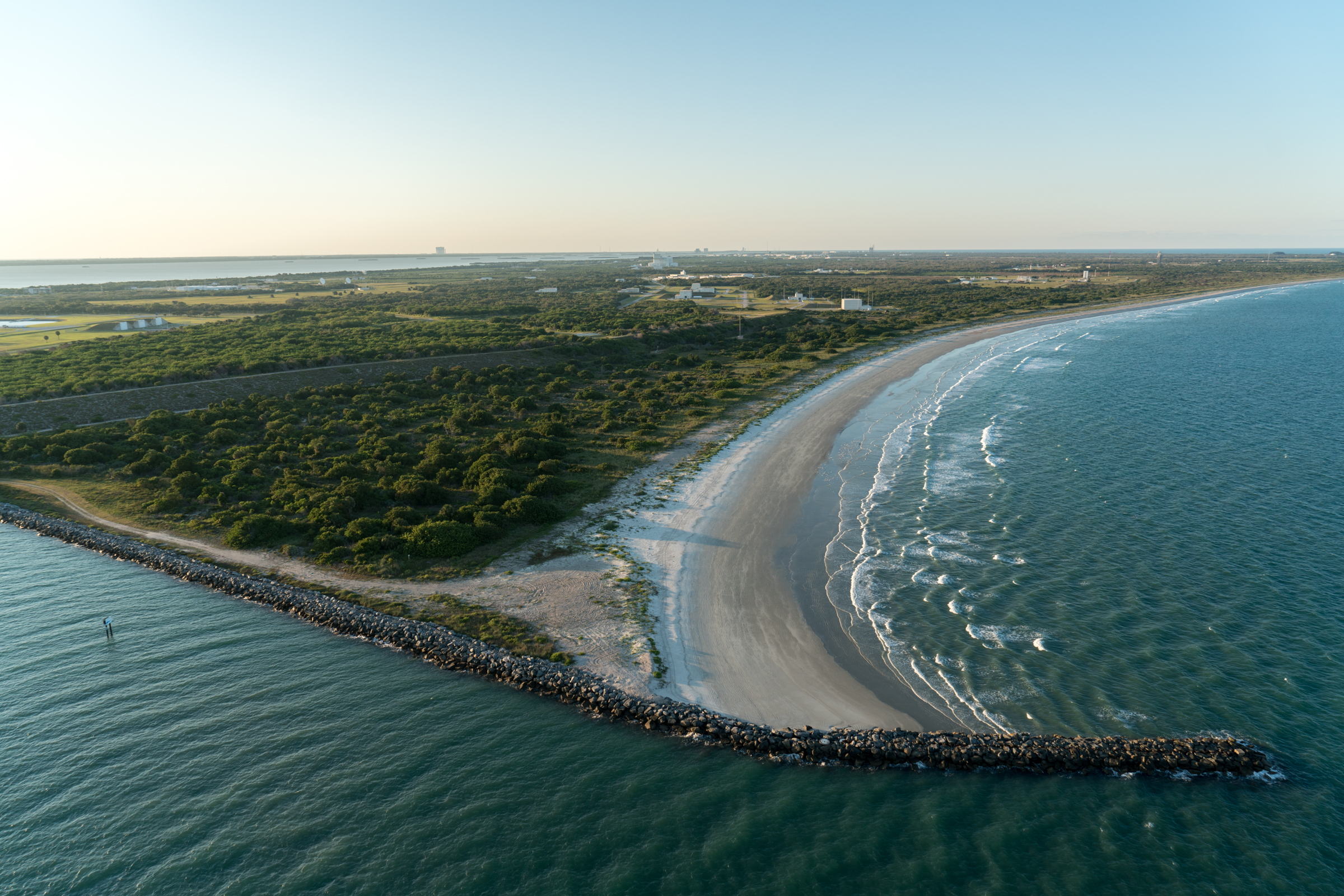 The inlet at Port Canaveral, overlooking Cape Canaveral Air Force Station.