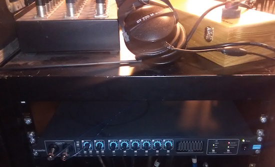 Focusrite Octopre feeding 7 line inputs from the monitor mixer via ADAT