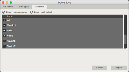 Specifying the tracks for export