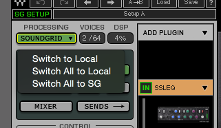 Pushing the processing back to the DSP is as simple as pressing a button on the software.