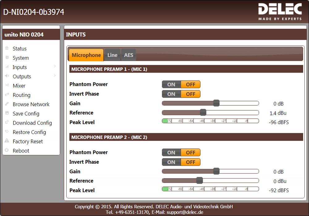 NIO 0204 Mic Inputs Setup