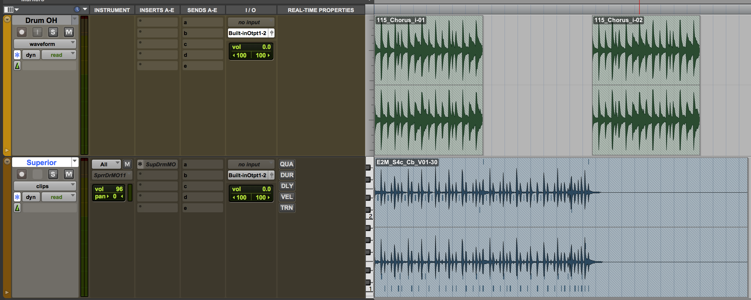 The session in Pro Tools 12.4