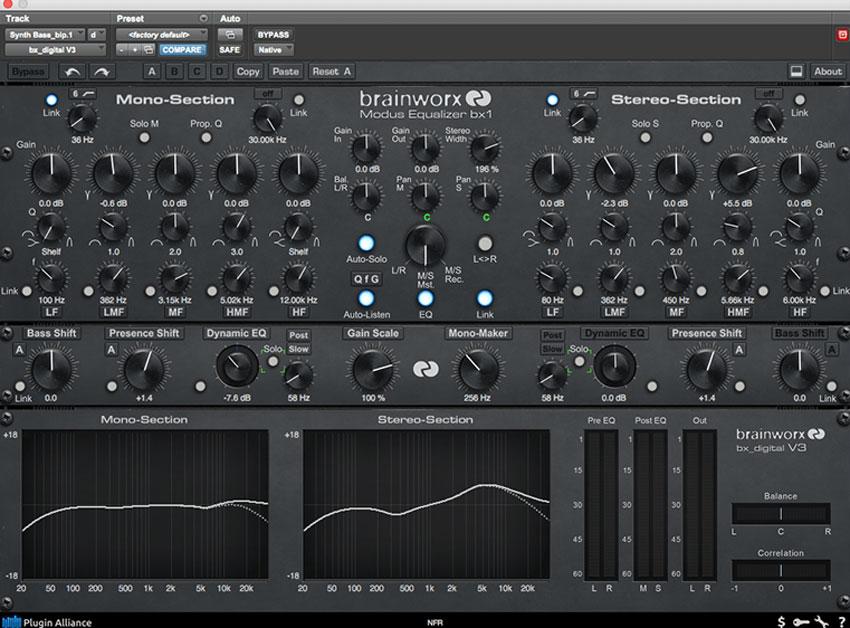 Bring a synth bass back to life Plugin Alliance bx-digital EQ