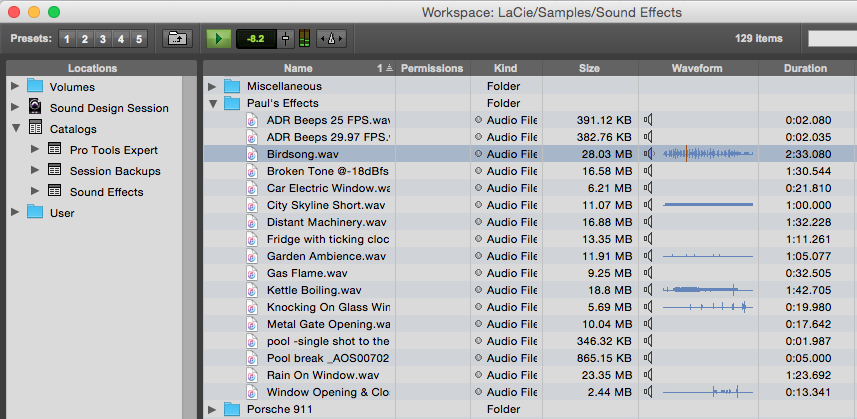 Audio files can be auditioned from catalogs