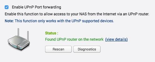 QNAP UPnP setup