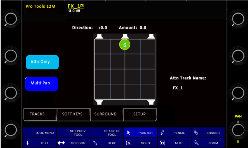 Avid Pro Tools Arist Control Surround Panner Page