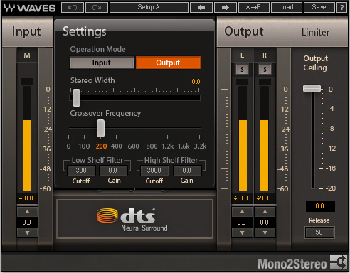 Waves DTS Neural Mono2Stereo plugin
