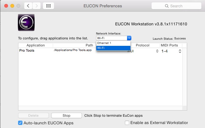 Pro Tools Eucontrol System Preferences Pane