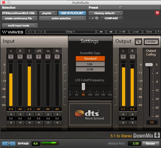 DTS Neural 5.1 to 2.0 Audiosuite Downmixer Previewing