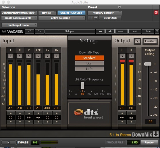 DTS Neural 5.1 to 2.0 Audiosuite Downmixer Rendering