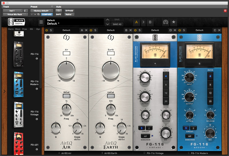 Eiosis Air EQ Modules And NEW FG116 Compressors in  Virtual Mix Rack