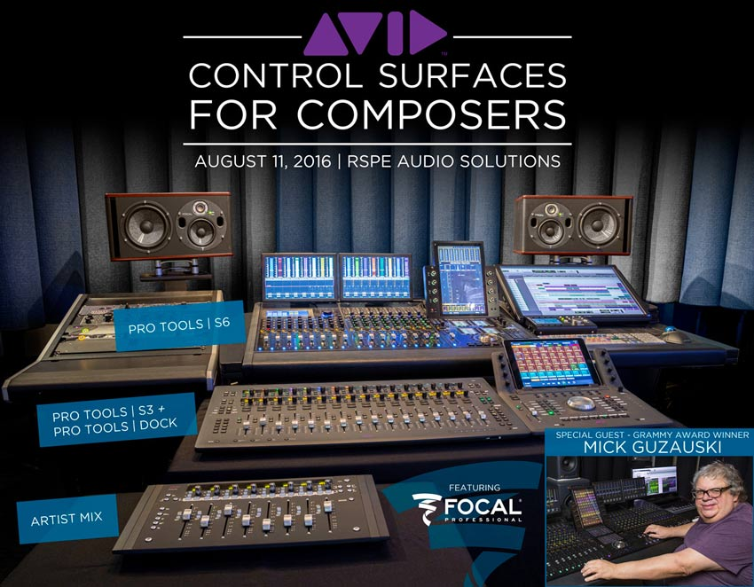Event - Avid Control Surfaces for Composers At RSPE On August 11th 2016