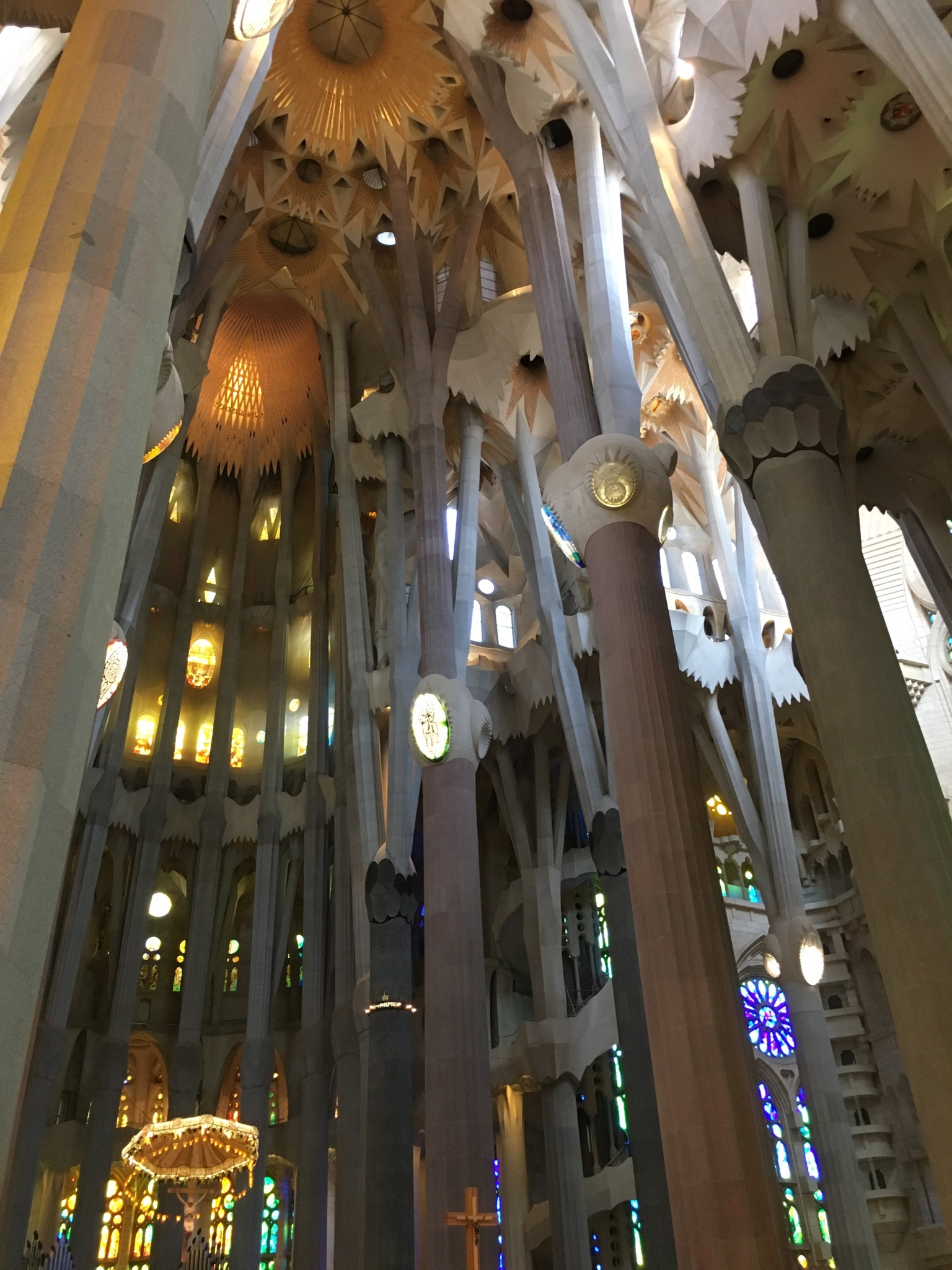 Inside the nearly completed La Sagrada Famila, Barcelona, Spain.