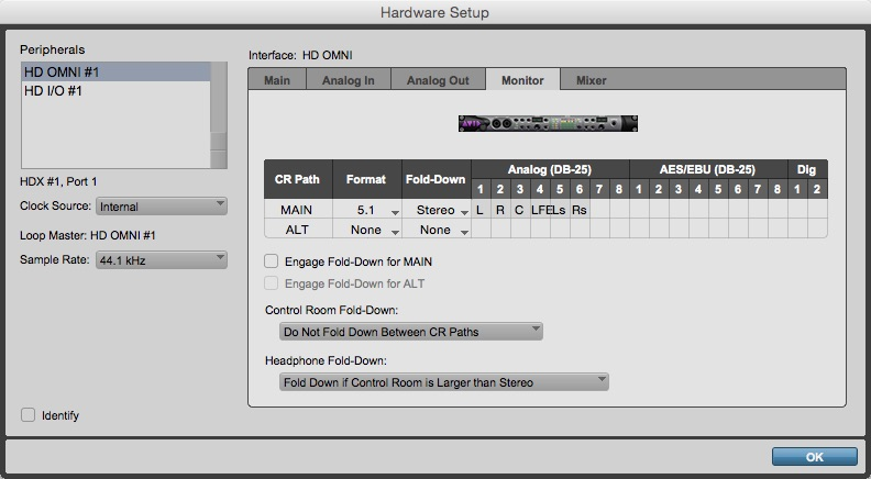 Hardware Setup Window - Monitor Tab