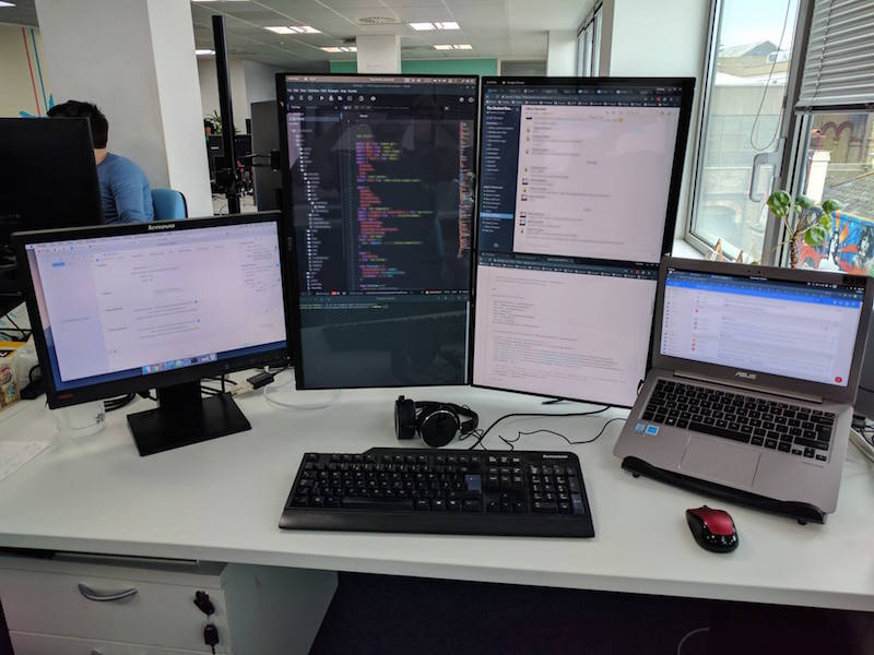 IT Developer Desk Controlled Using Synergy by Symless