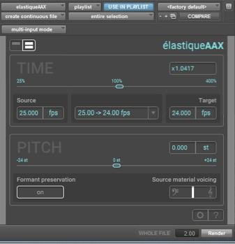 zplane élastiqueAAX User Interface