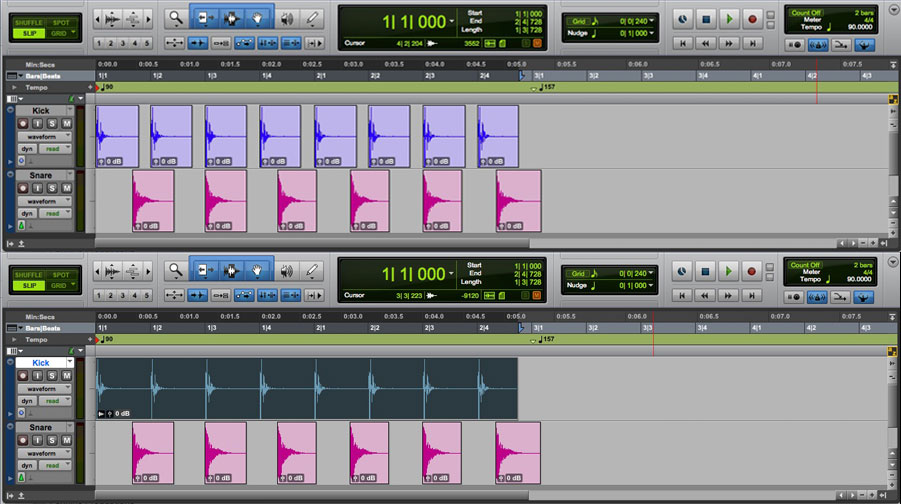 Using Clip Groups in Pro Tools