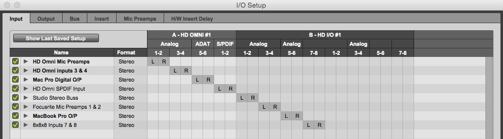Naming tracks and busses in the I/O Setup window in Pro TOOLS