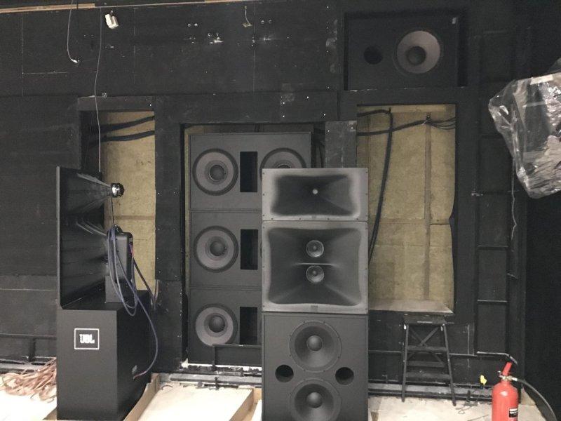 JBL Speakers going in behind the screen