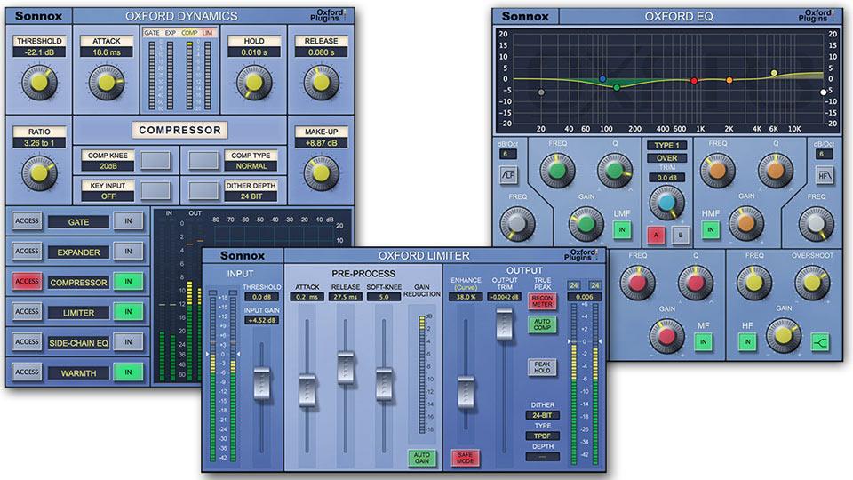 Sonnox EQ, Dynamics and Limiter v2 plug-ins